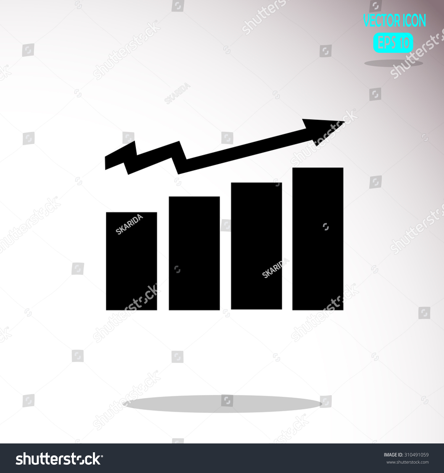 Business Graph Vector Growth Progress Arrow Stock Vector