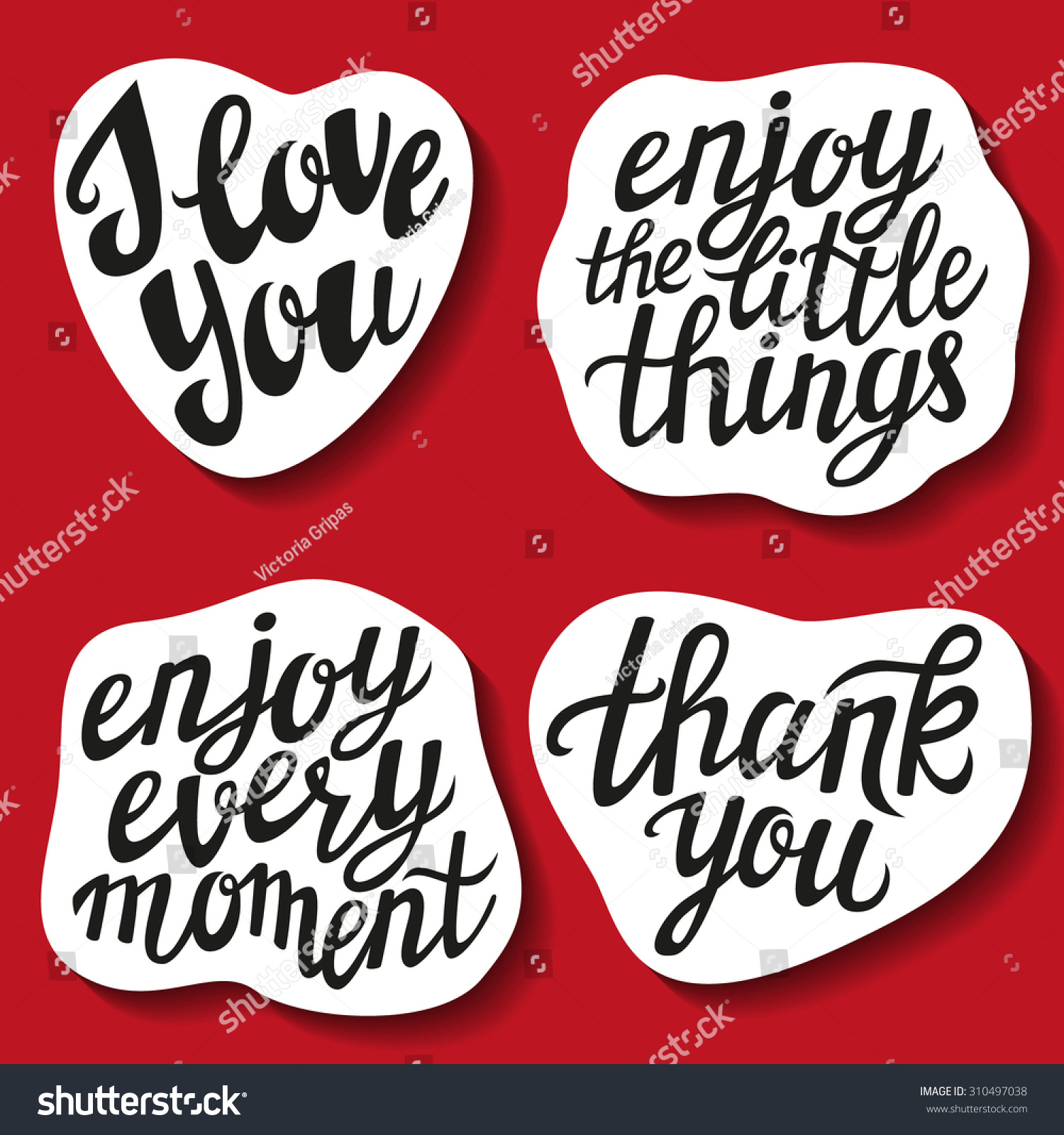 Love You Thank You Quotes Set Hand Lettering Stickers Popular Quotes Stock Vector 310497038