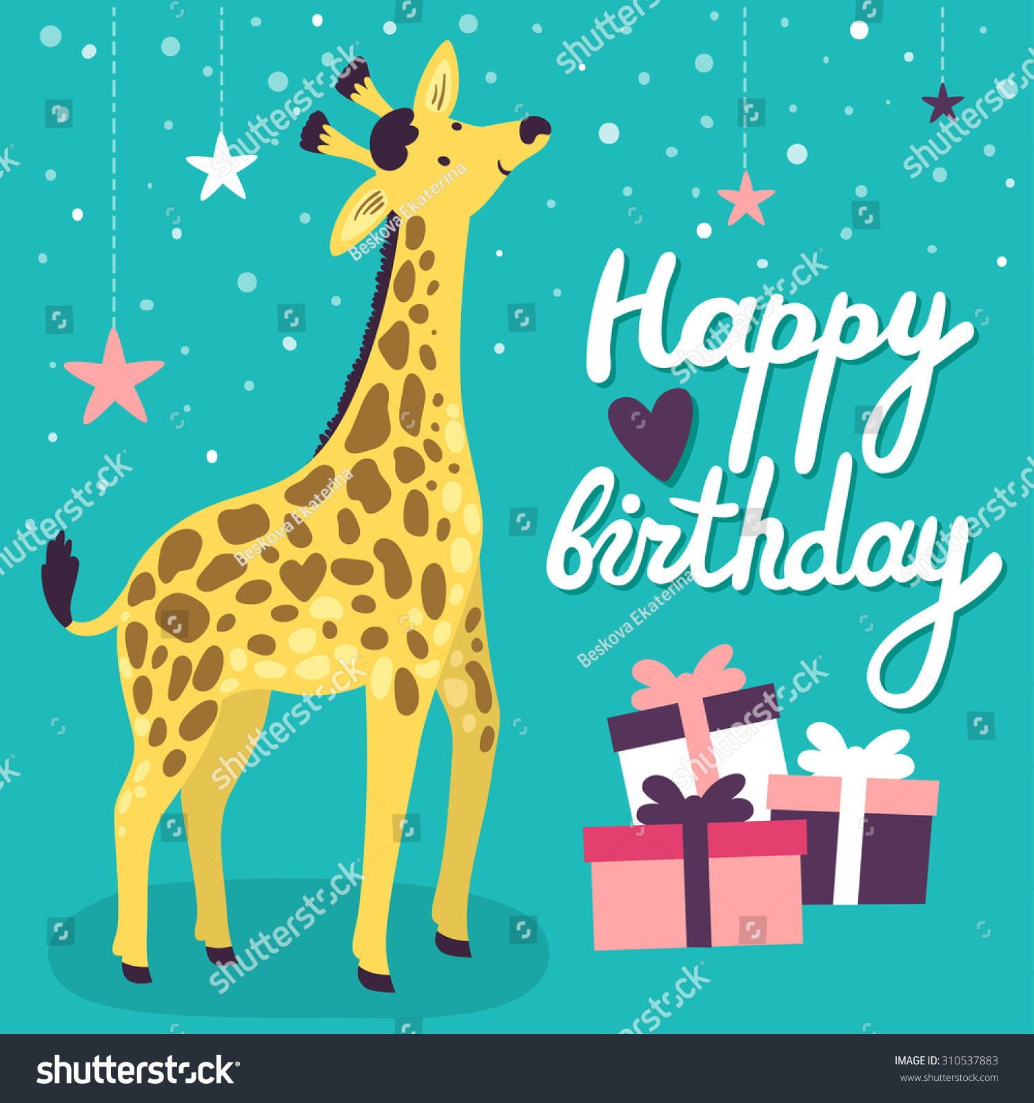 Vector Birthday Card Cute Smiling Giraffe Vector 310537883 – Vector Birthday Cards