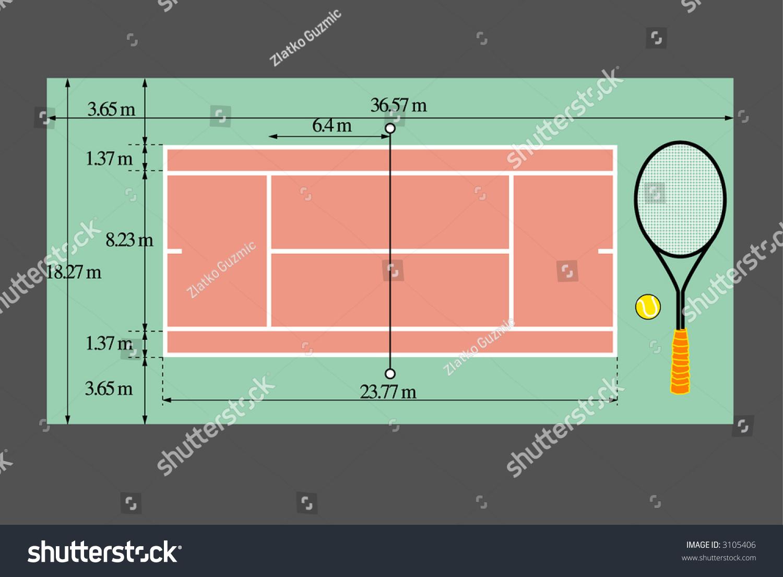 tennis terrain dimensions stock vector 3105406 shutterstock