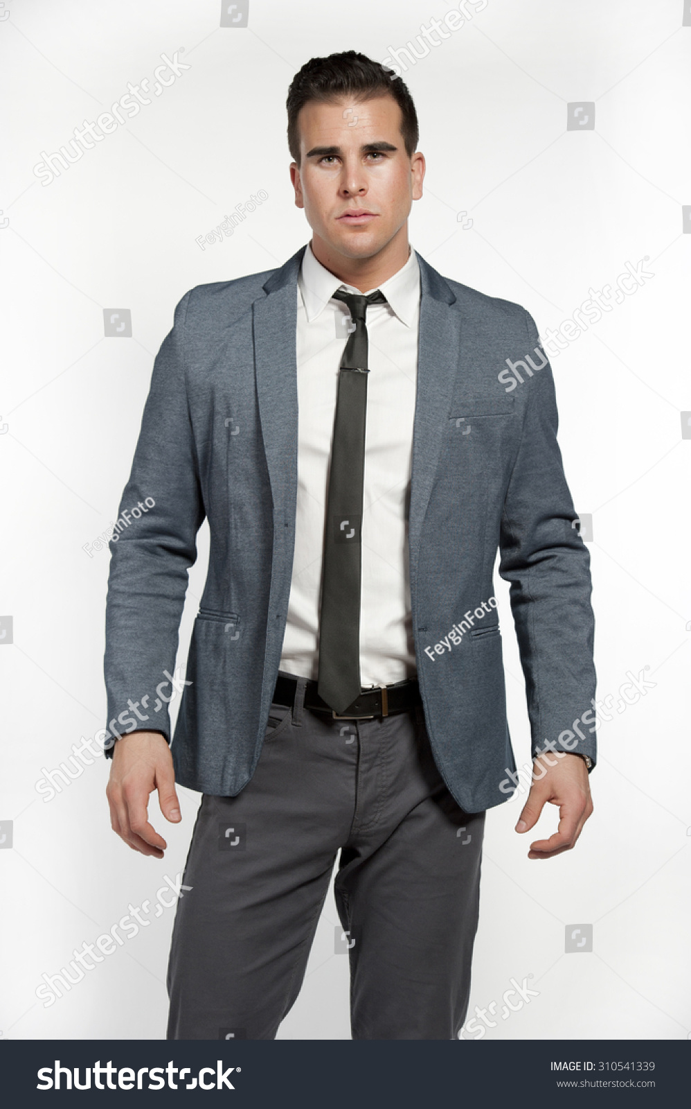 Attractive White Male Wearing Fitted Gray Stock Photo 310541339 ...