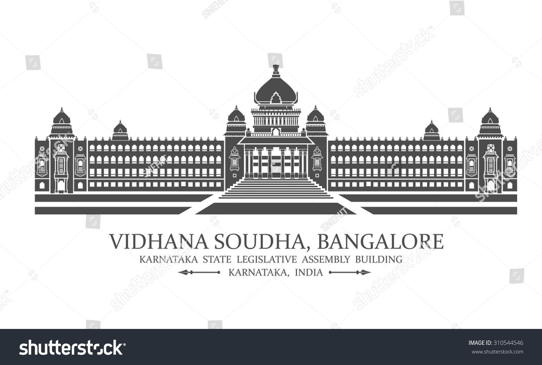 Vector Illustration Of Bangalore Vidhana Soudha Also Known