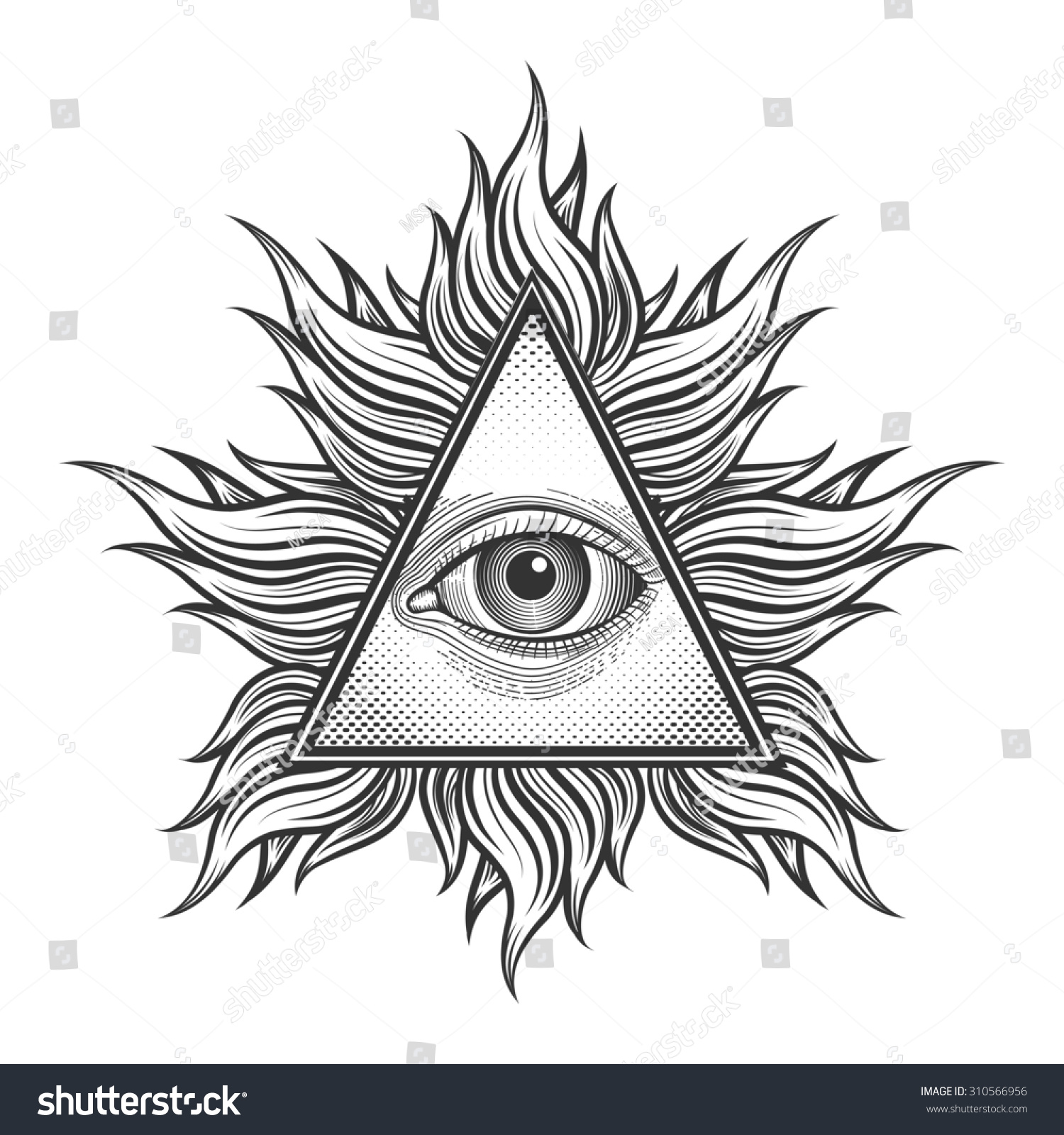 All Seeing Eye Pyramid Symbol Engraving Stock Illustration 310566956
