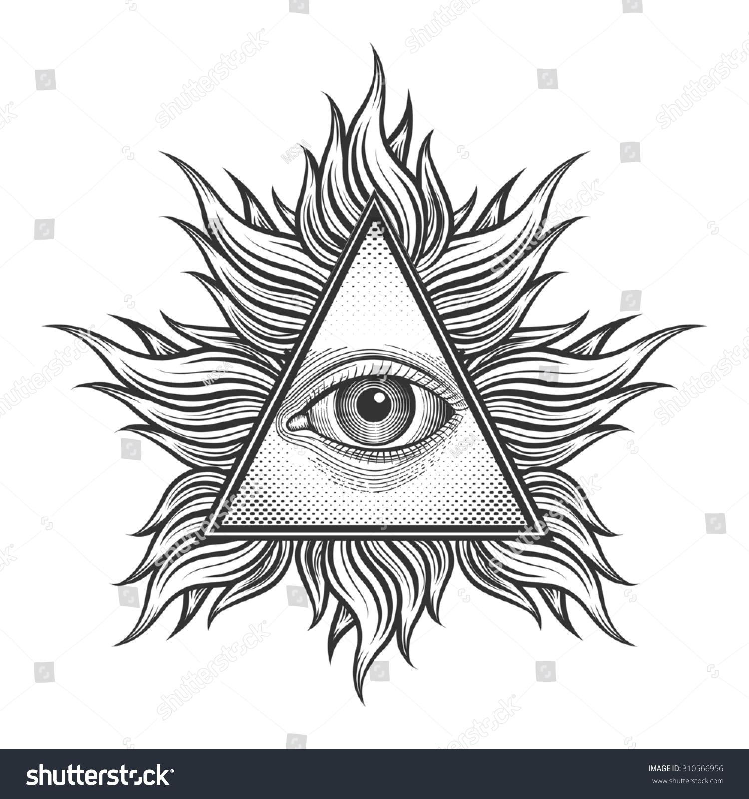 All Seeing Eye Pyramid Symbol Engraving Stock Illustration 310566956