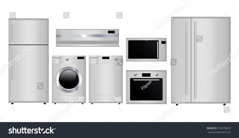 Home Appliances Set Household Kitchen Technics Stock Illustration ...