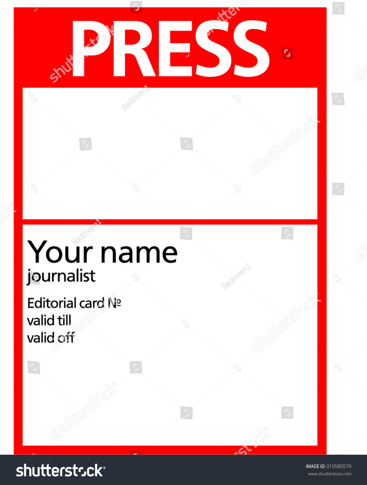 Red white press pass id card stock illustration 310580579 for Media press pass template