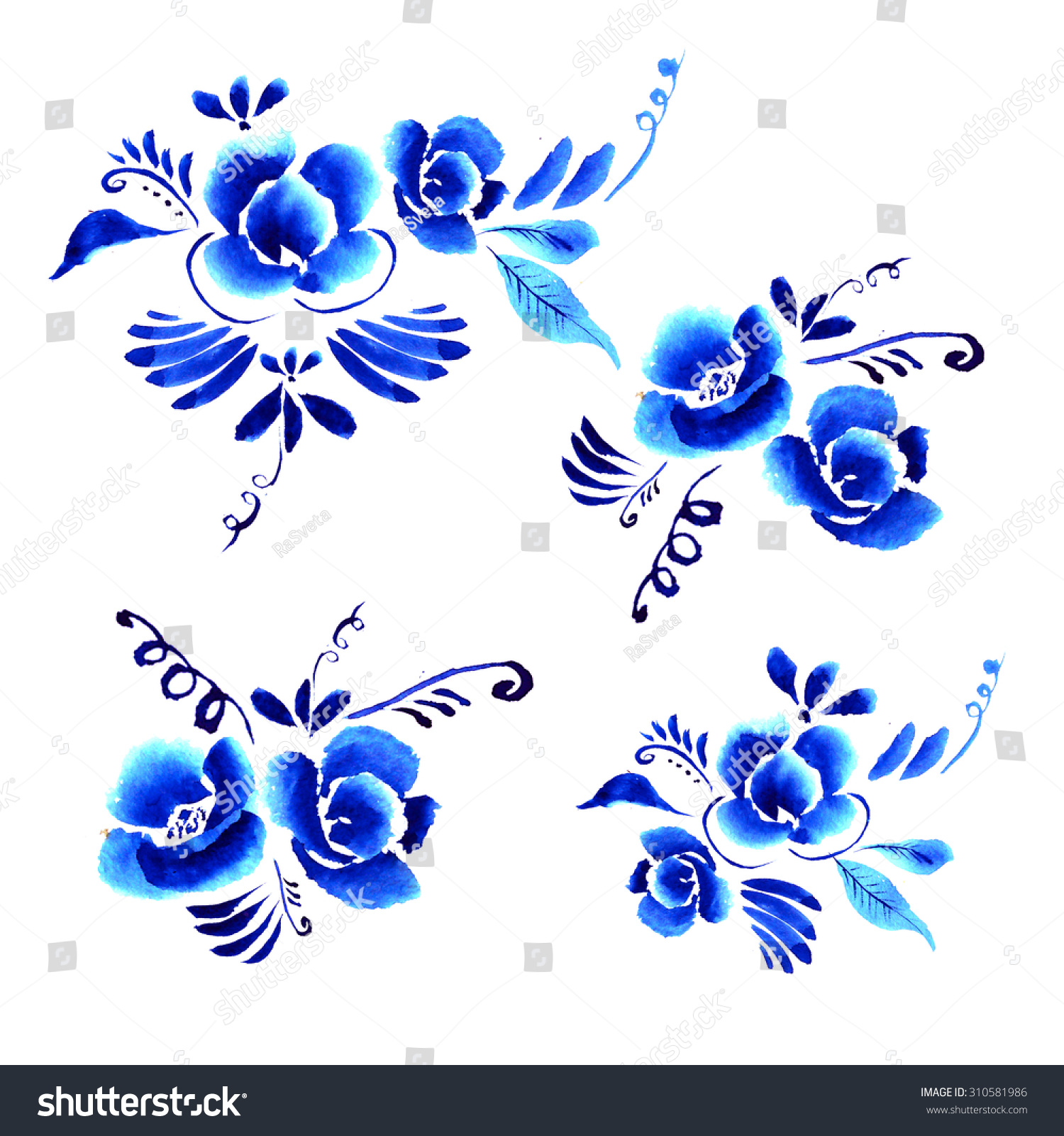 Artistic floral element abstract gzhel folk art blue flowers stock - Abstract Floral Background Pattern With Folk Art Flowers Blue White Gzhel Ornament Can