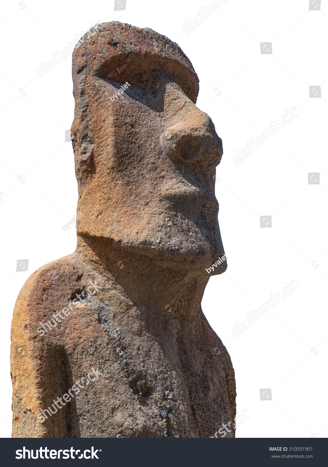 Sculpture of a moai carved in volcanic stone from easter