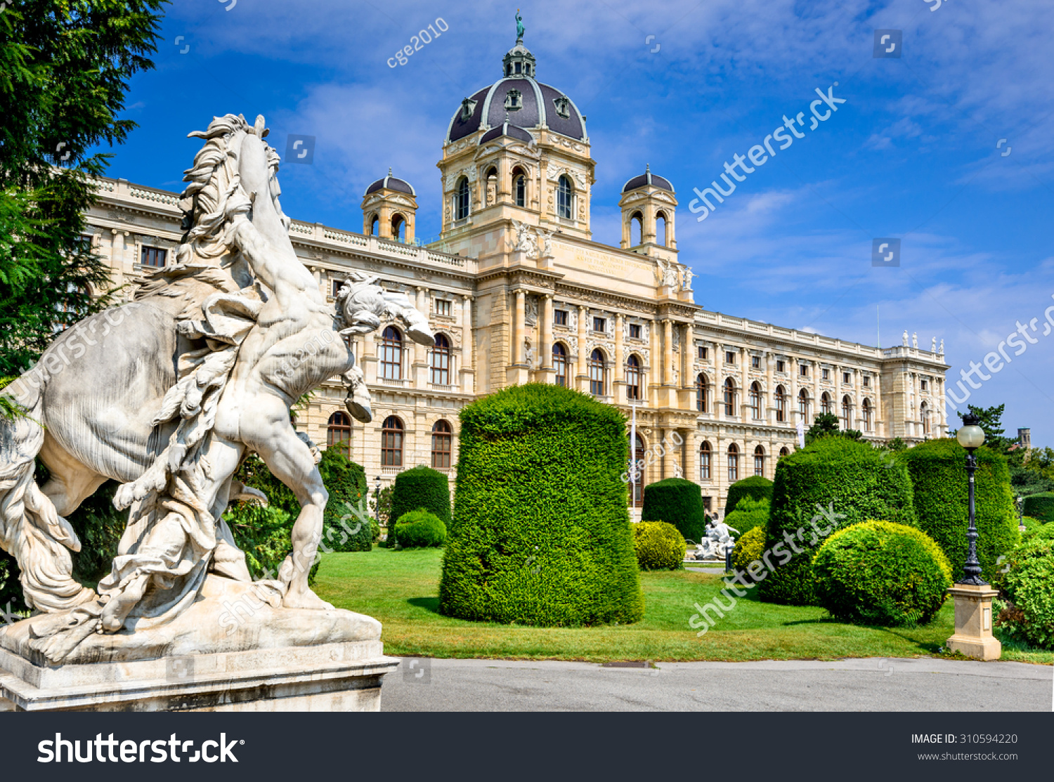 Vienna Austria Beautiful view of famous Naturhistorisches Museum Natural History Museum with park Maria-Theresien-Platz and sculpture in Vienna Austria