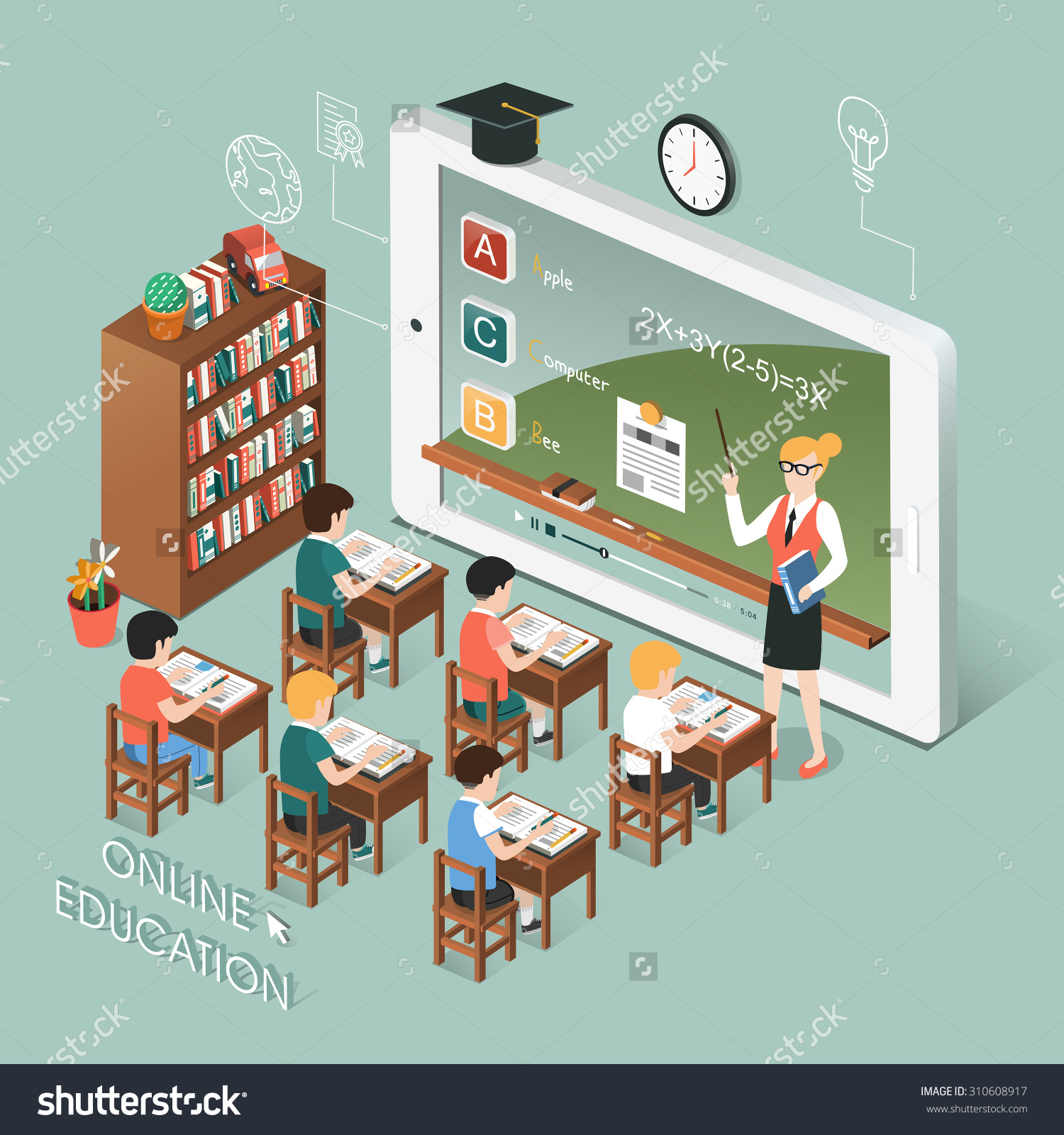 Flat 3d Isometric Design Of Online Education With Tablet