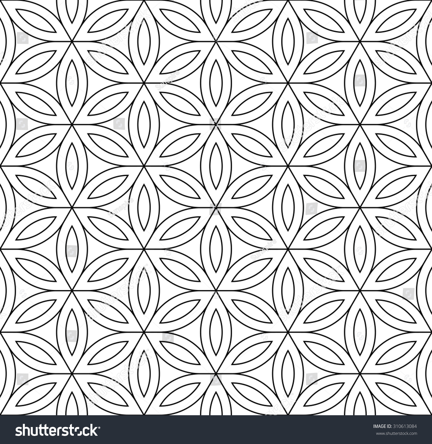 Bed sheet pattern texture - Vector Modern Seamless Pattern Sacred Geometry Stylish Background Flower Of Life Black And White