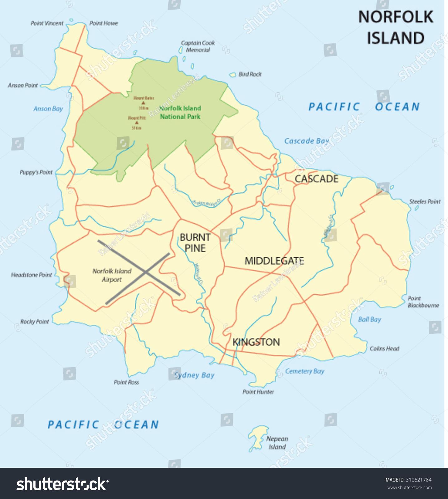 Norfolk Island Map Stock Vector Shutterstock - Norfolk island map
