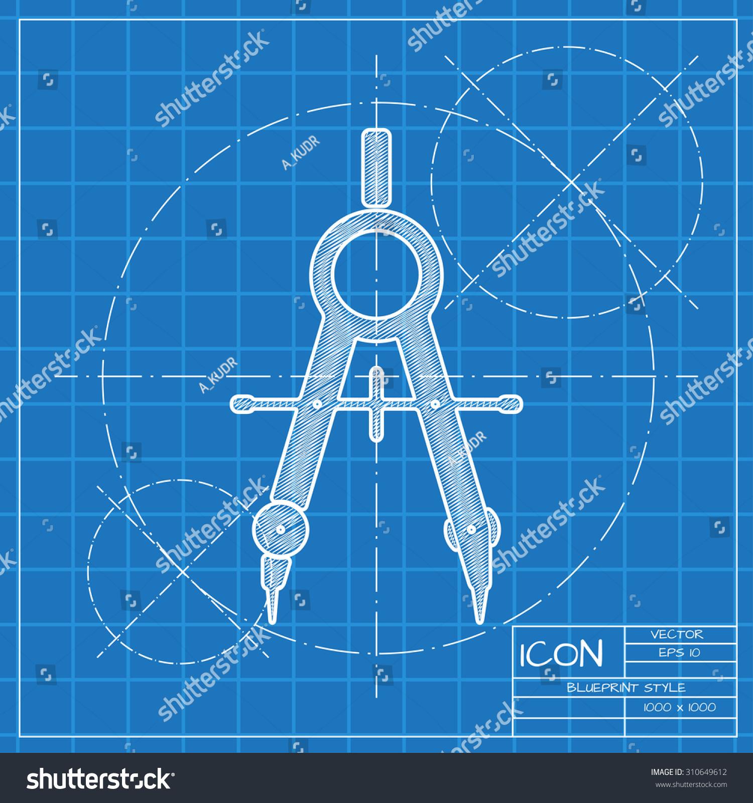 Vector Blueprint Compasses Icon Engineer Architect Stock