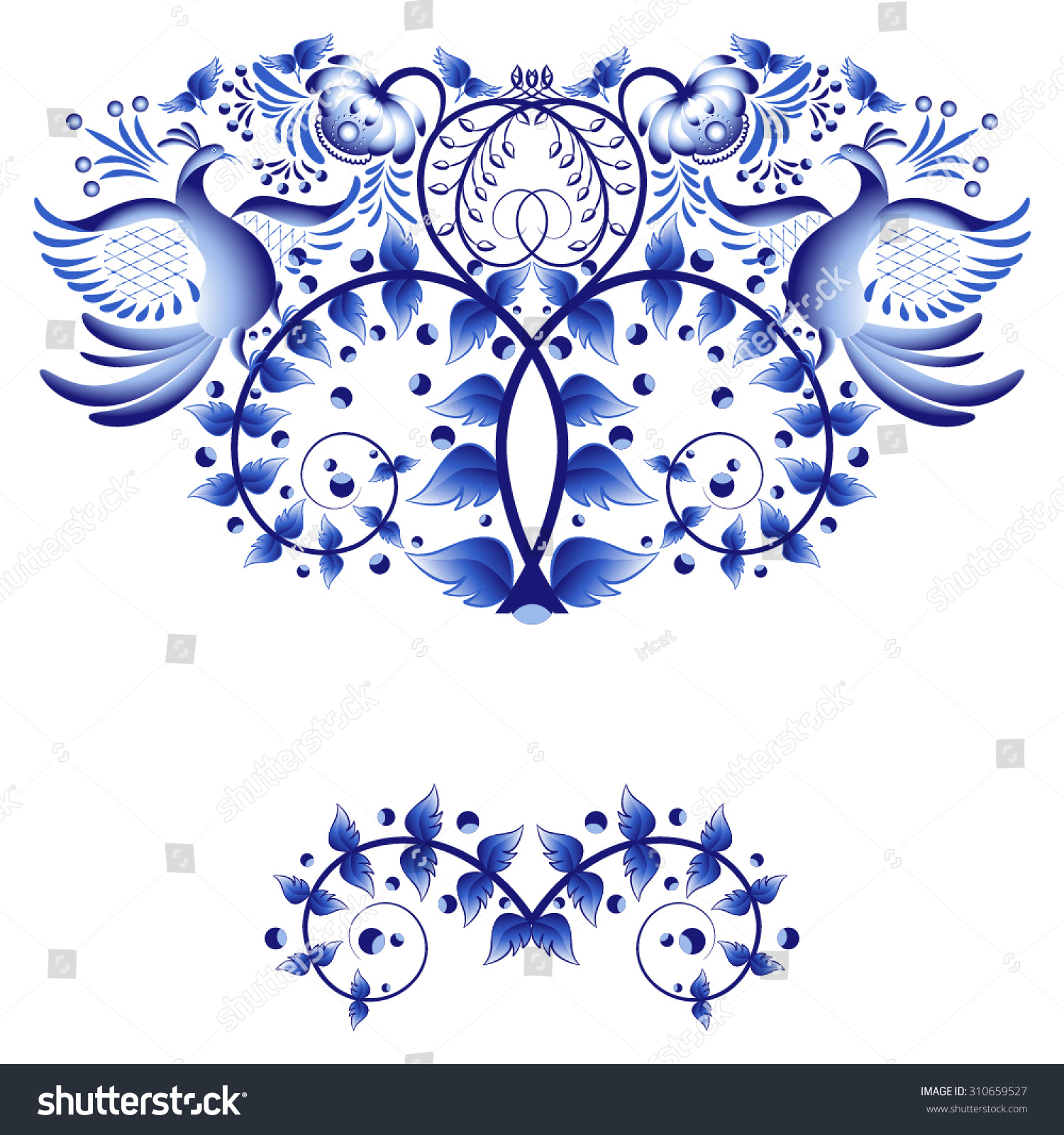 Artistic floral element abstract gzhel folk art blue flowers stock - Gzhel Style Elements For Greeting Card Or Invitation With Blue Painted Flowers And Birds