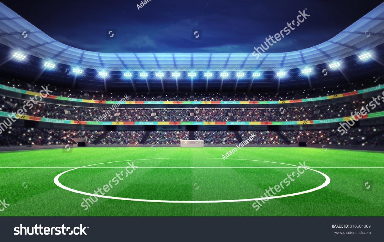 Lighted Football Stadium Fans Stands Sport Stock
