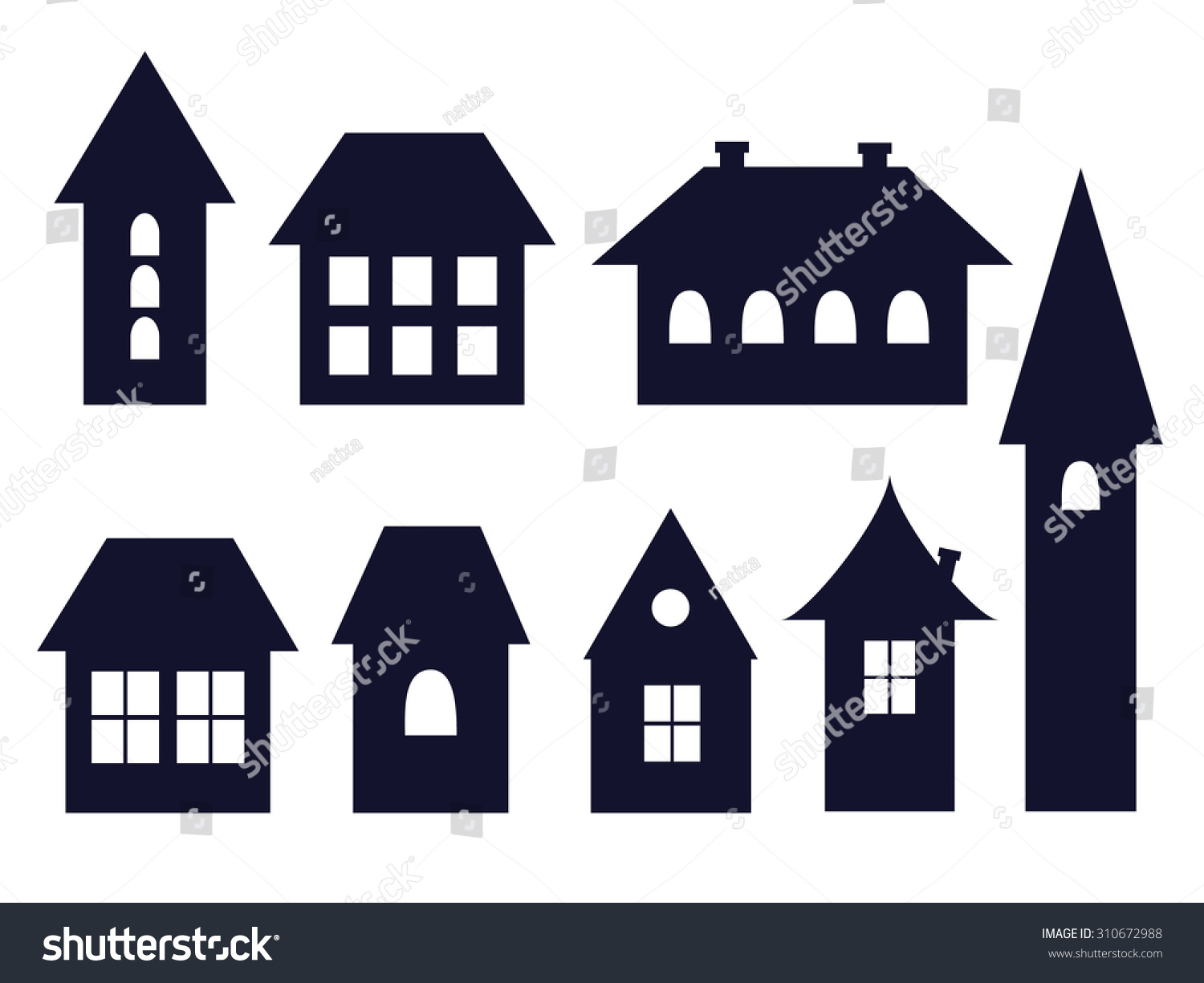 set old fashioned house icons vector stock vector 310672988