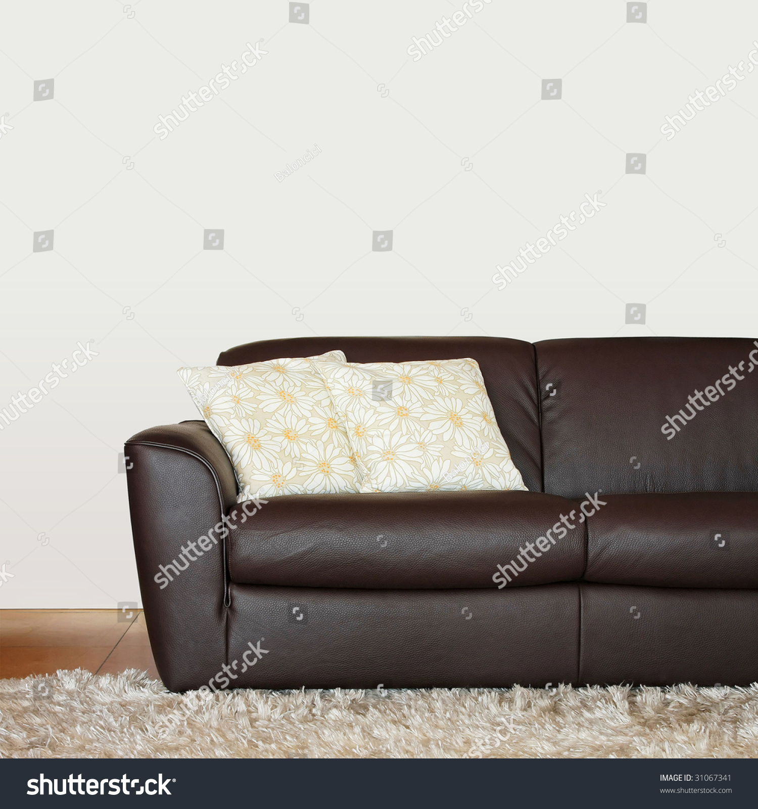 Picture of: Part Brown Leather Sofa Pillows Stock Photo Edit Now 31067341
