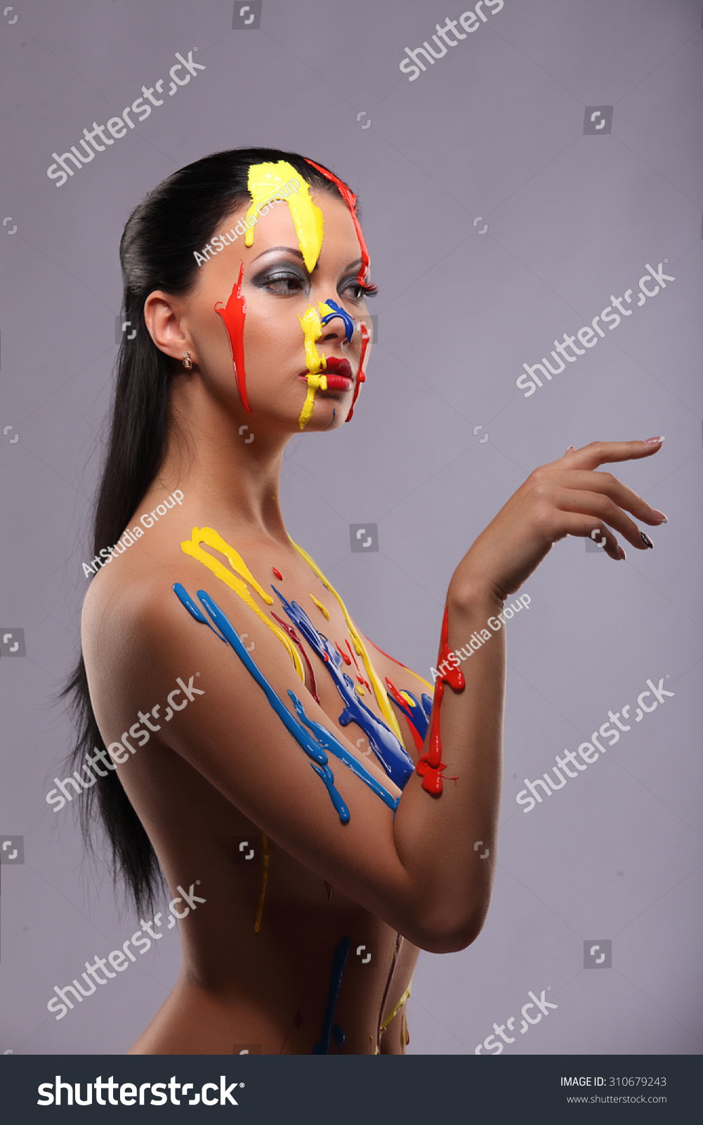 Portrait Woman Painted Conceptual Body Art Stock Photo Edit Now 310679243