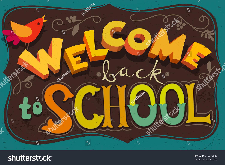 welcome back school poster blackboard design stock vector 310682849 shutterstock. Black Bedroom Furniture Sets. Home Design Ideas