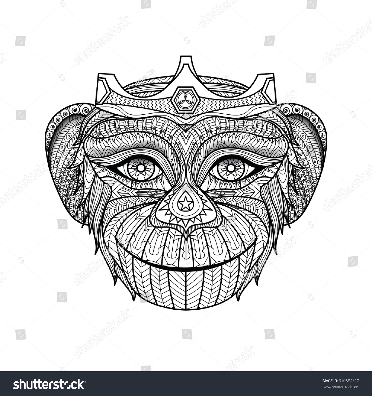hand drawn king monkeys coloring page stock vector 310684310