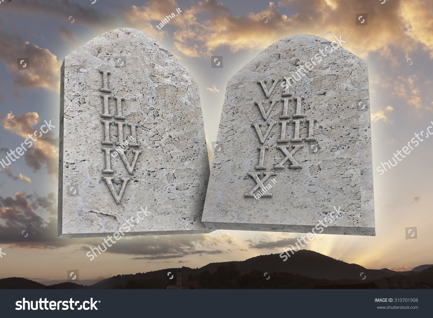 Ten Commandments On Sunset Background Stock Illustration