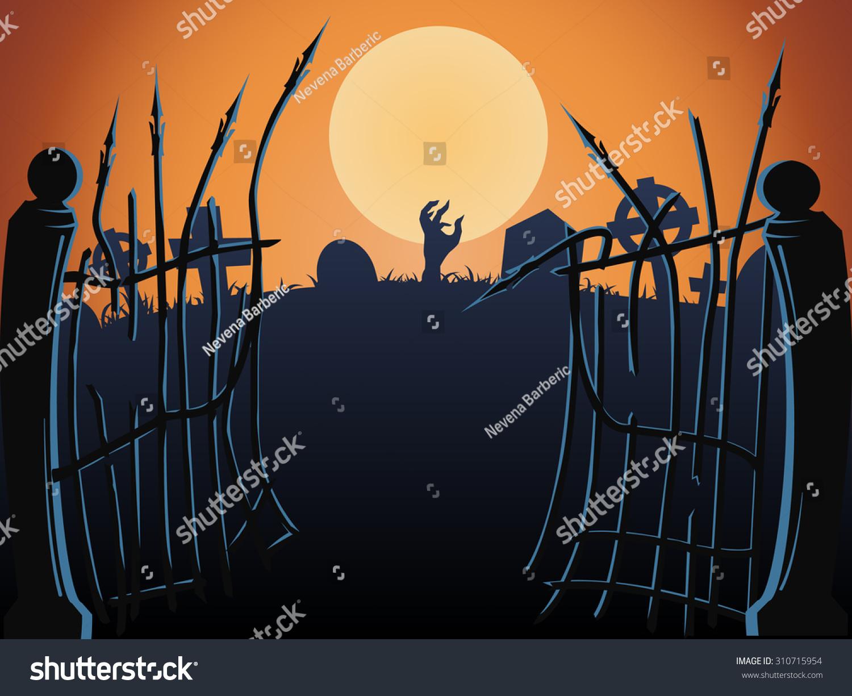 halloween cemetery gates vector stock vector (royalty free
