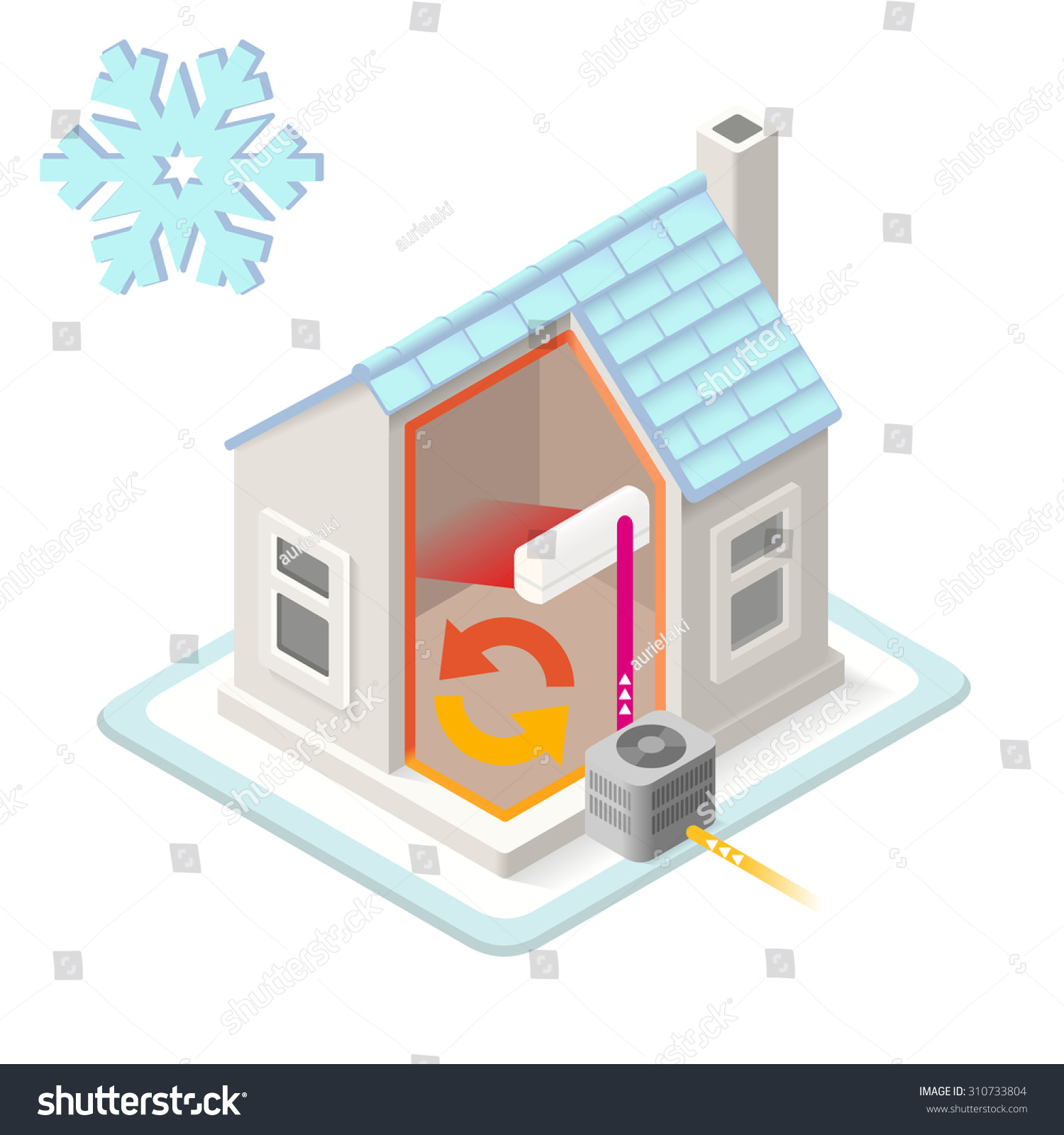 home air conditioning diagram. home heating system air conditioning unit house heat pump infographic. isometric building 3d diagram