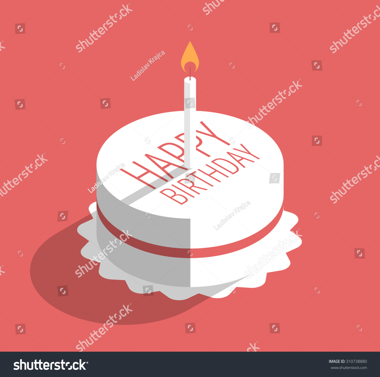 Birthday Cake Candle Vector Illustration On Stock Vector 310738880