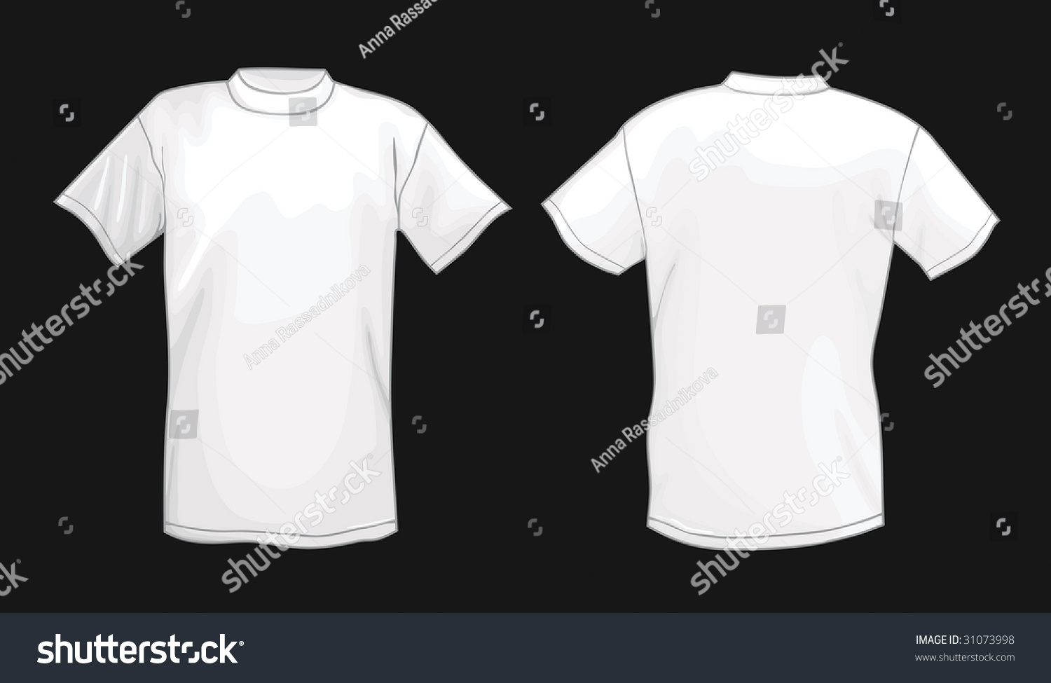 White t shirt front and back template - White Vector T Shirt Design Template Front Back Isolated On Black Background