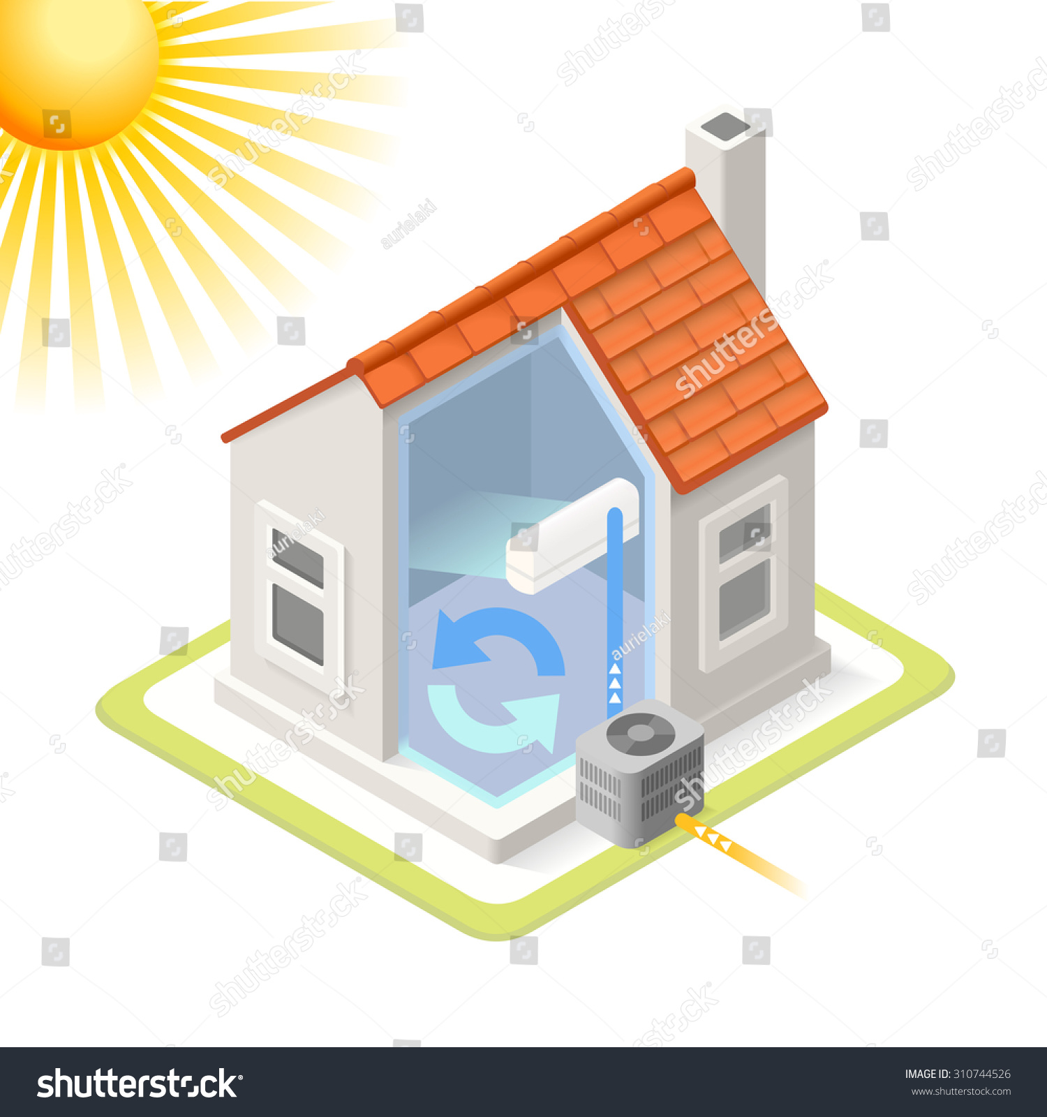 stock vector home cooling system air conditioning unit house heating heat pump infographic isometric building 310744526 home cooling system air conditioning unit stock vector 310744526 home air conditioning diagram at edmiracle.co