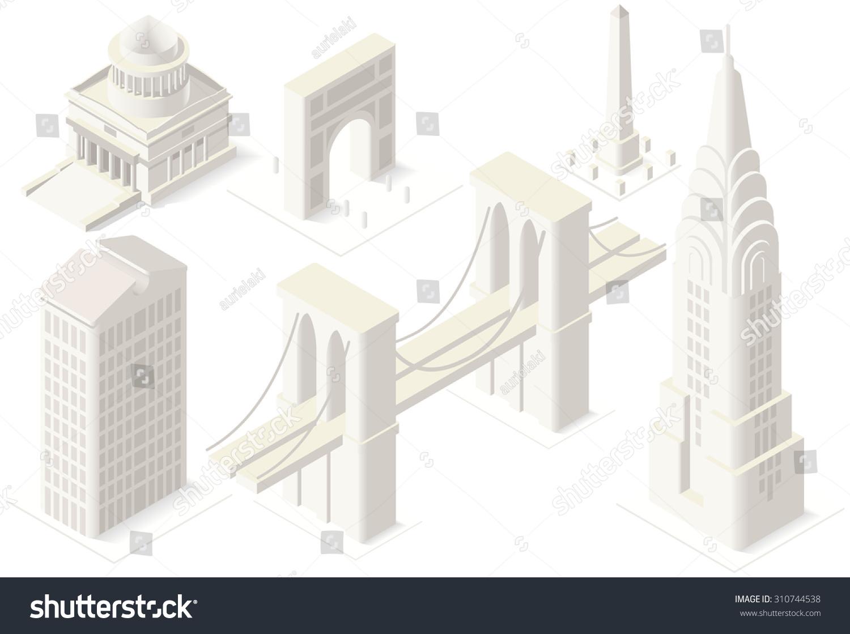 Nyc Landmarks Building Isometric D Flat Stock Vector - Nyc map landmarks