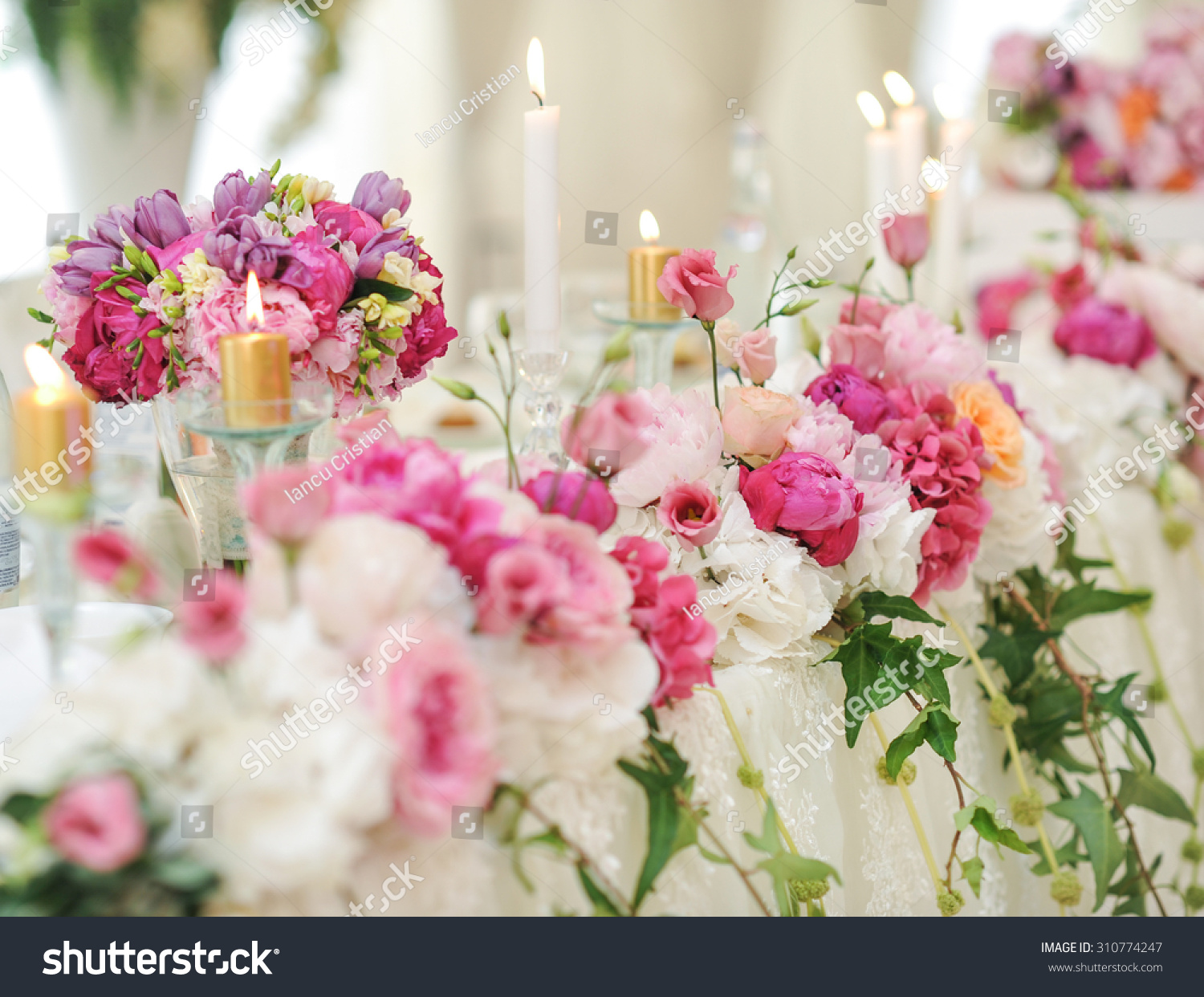 Wedding Decoration On Table Floral Arrangements Stock Photo (Edit ...