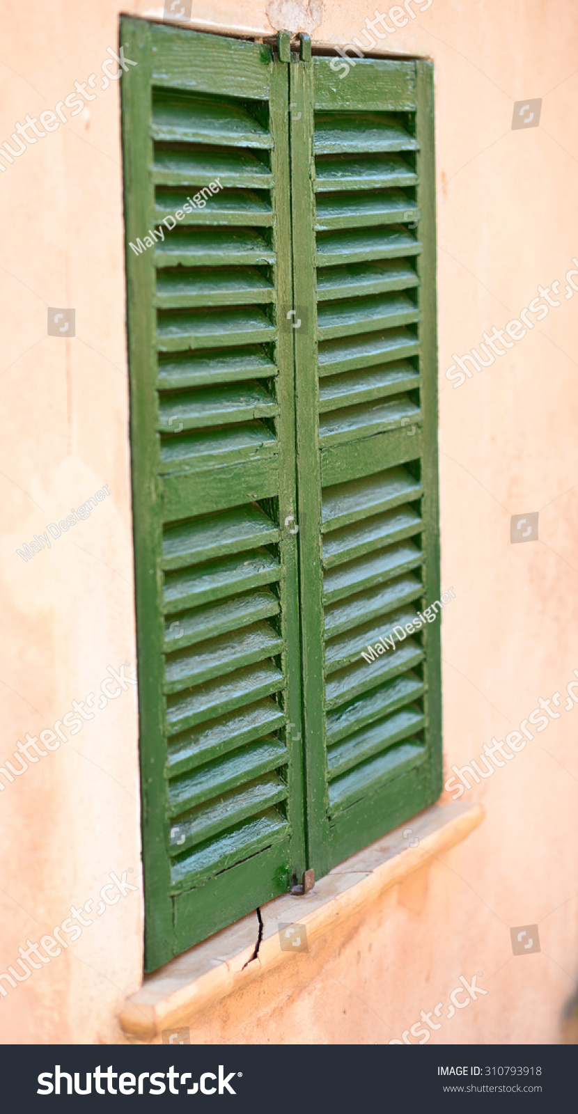 Spanish style shutters old house stock photo 310793918 for Spanish style window shutters