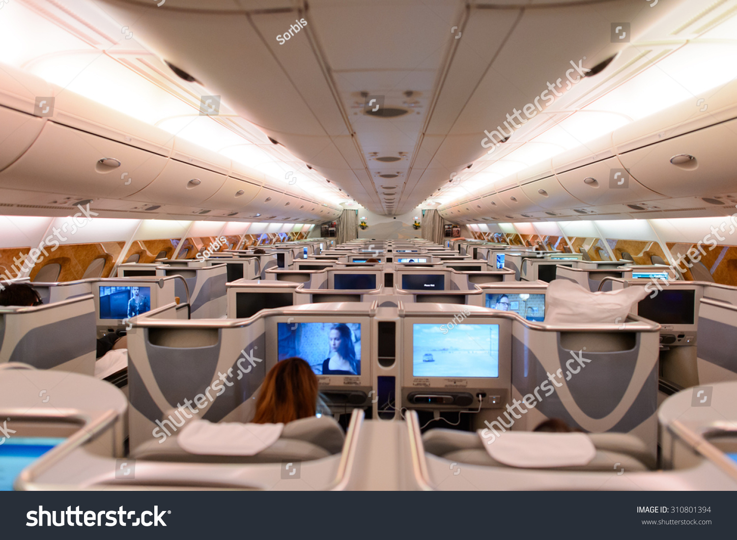 Hong kong june 18 2015 emirates stock photo 310801394 for Airbus a380 emirates interior
