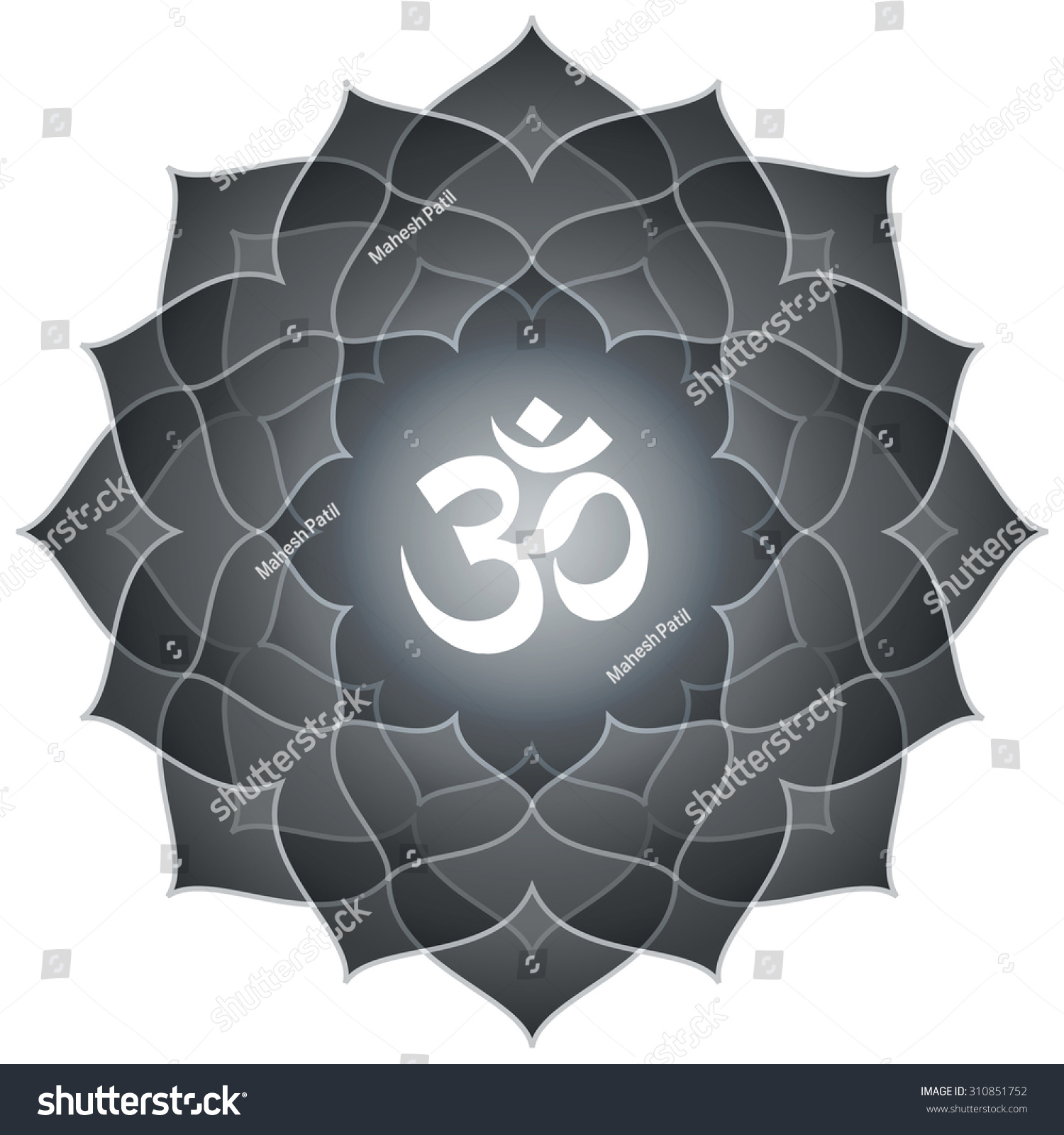 Lotus Om Design Text Spiritual Hindu Stock Vector 310851752