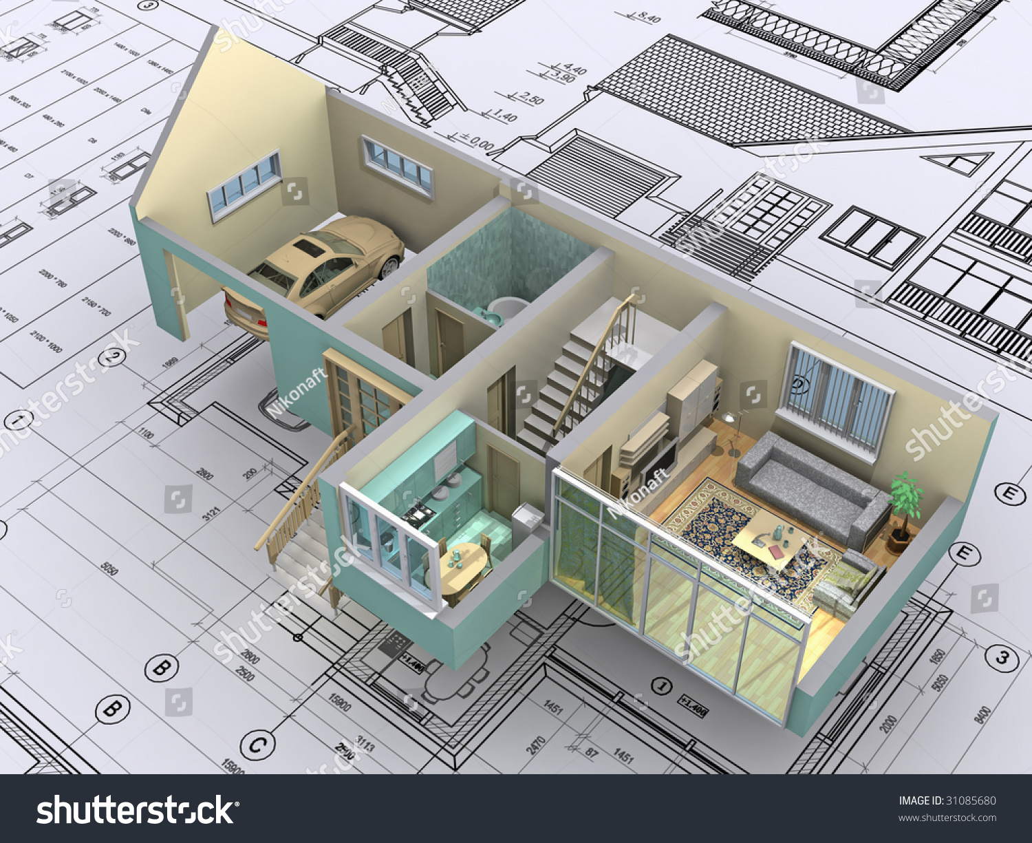 3d isometric view the cut residential house on architect s