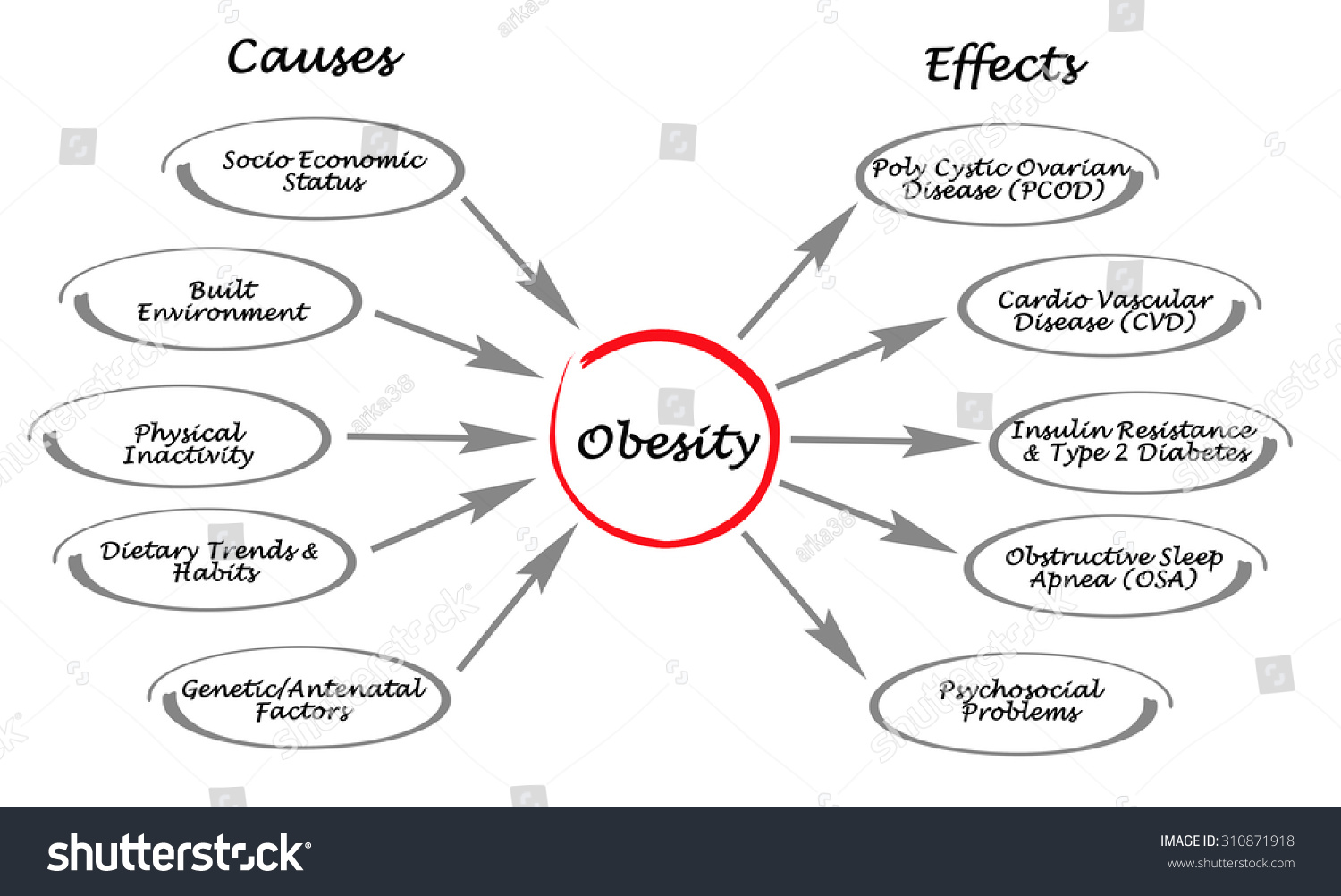 causes and efects of obesity Diabetes - obesity is the major cause of type 2 diabetes this type of diabetes usually begins in adulthood but, is now actually occurring in children obesity can cause resistance to insulin, the hormone that regulates blood sugar when obesity causes insulin resistance, the blood sugar becomes elevated.
