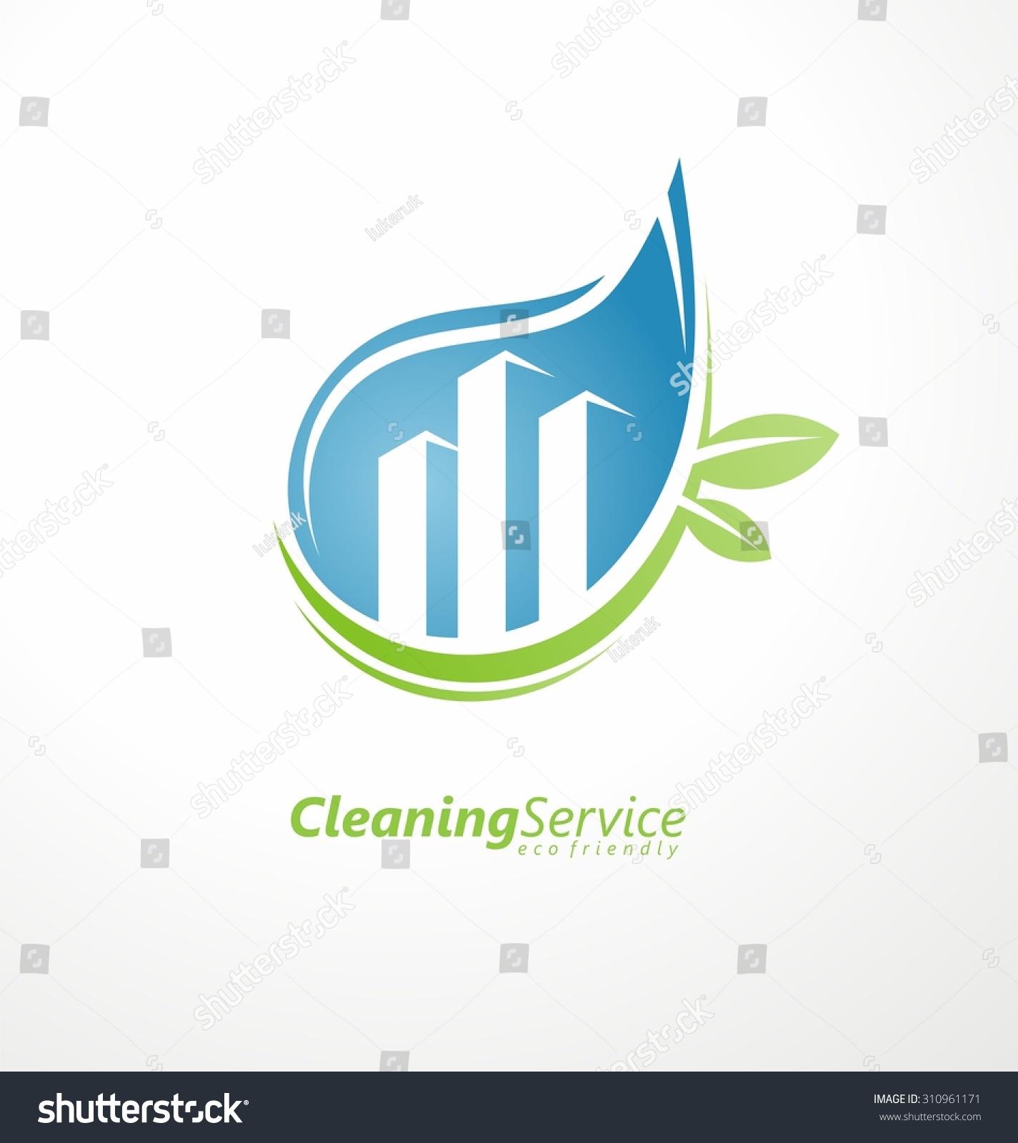 cleaning service logo design idea water drop with buildings in negative space creative eco - Logo Design Idea
