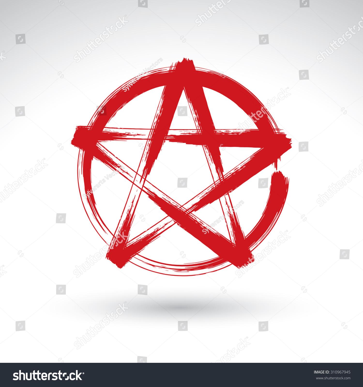 Hand Drawn Pentagram Icon Scanned Brush Drawing Red Magic Polygonal
