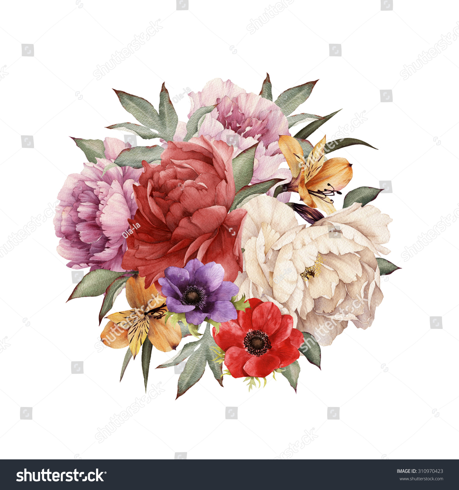 Greeting Card Peonies Watercolor Can Be Stock Illustration 310970423 ...
