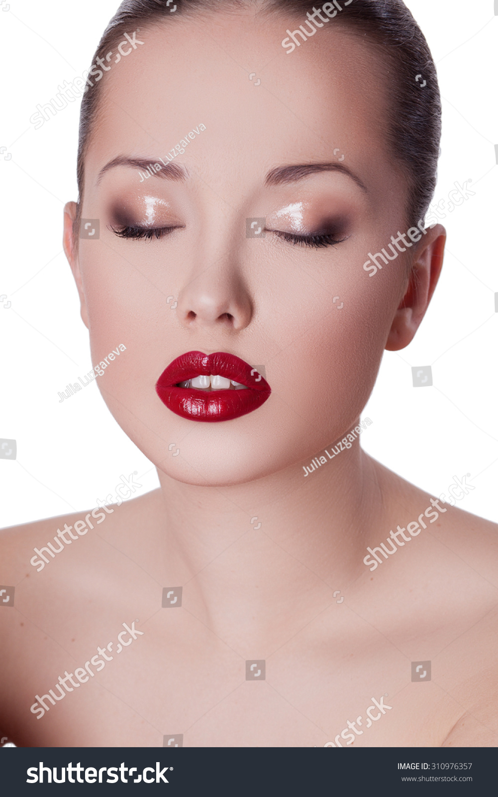 Asian face woman close up, wet makeup to her face, red lips, and moist eyes. BIG sexy lips, mouth open. Seductive Lips RED and isolated on a white ...