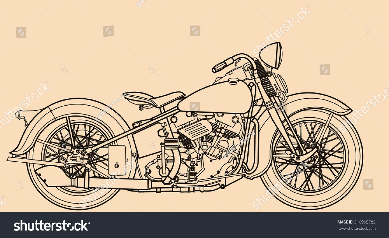 Line Drawing Motorcycle : Motorcycle line drawing stock vector shutterstock