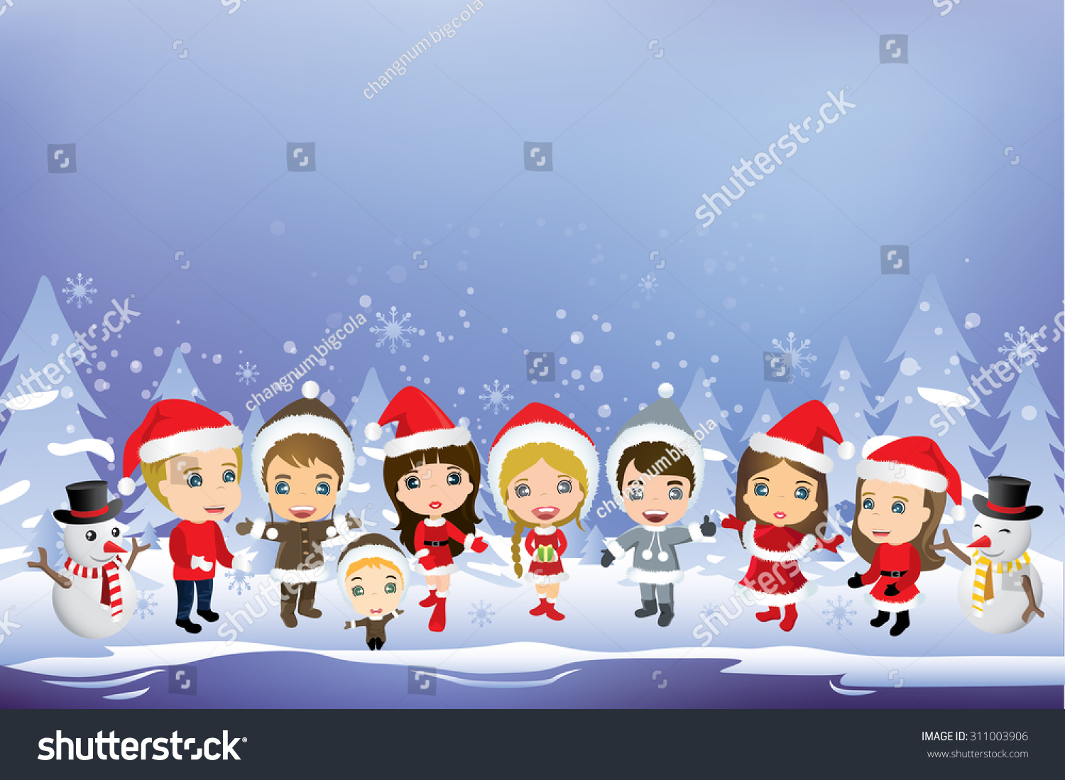 Kids Having Christmas Party Christmas Background Stock Vector ...