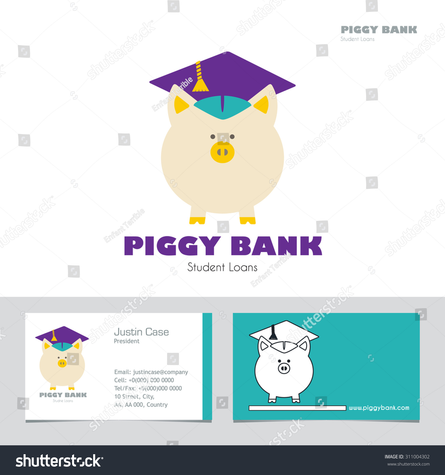 Piggy Bank Graduate Hat Vector Sign Stock Vector Royalty Free