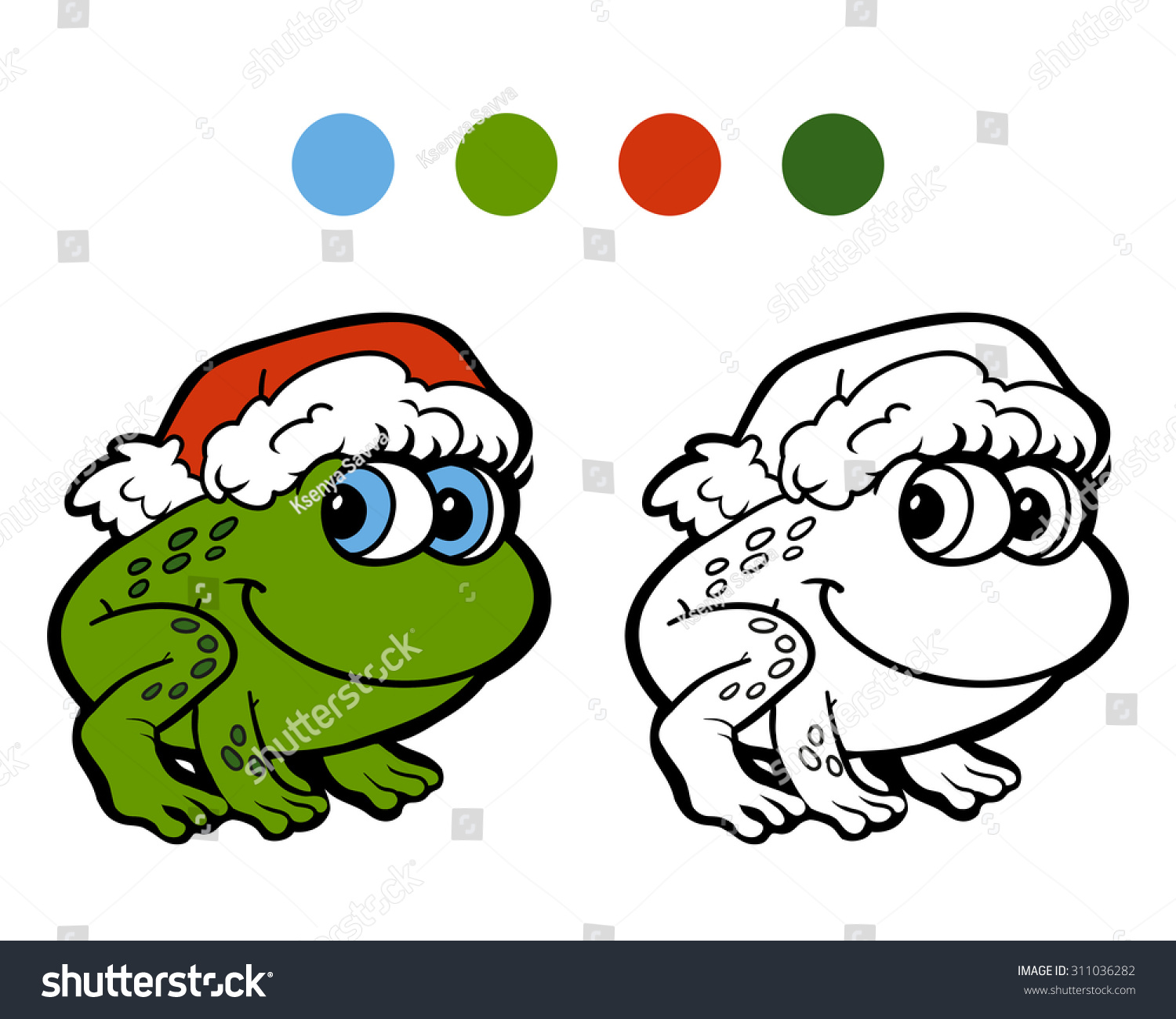 Coloring Book Christmas Winter Frog Game For Children
