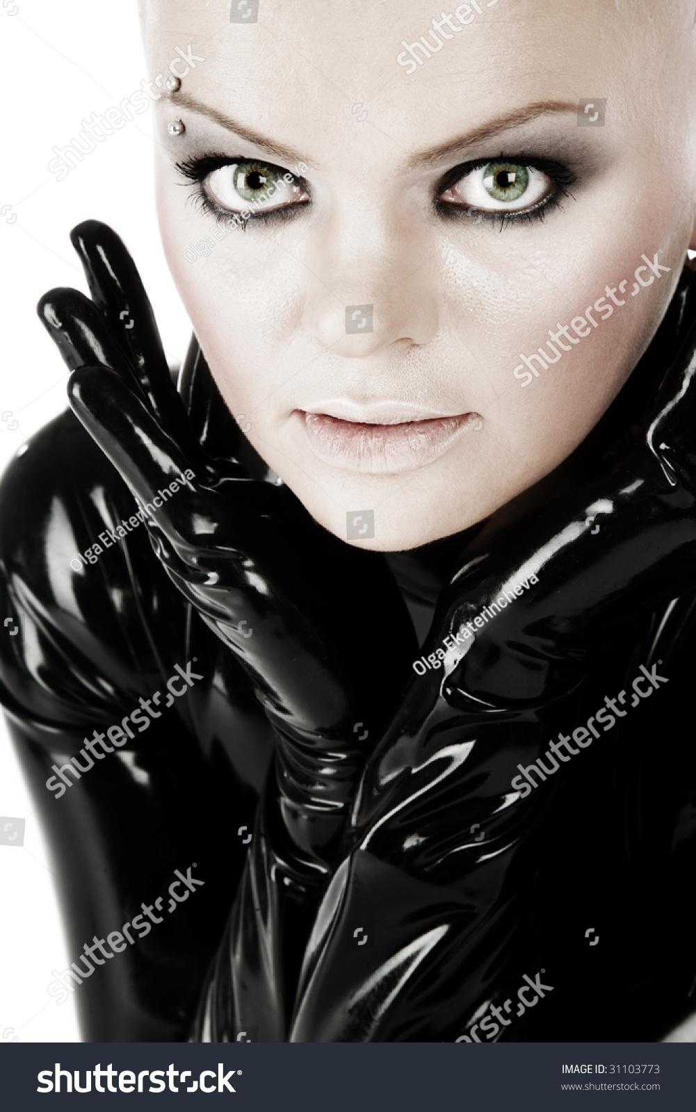 Black White Colored Portrait Skinhead Girl Stock Photo Edit Now