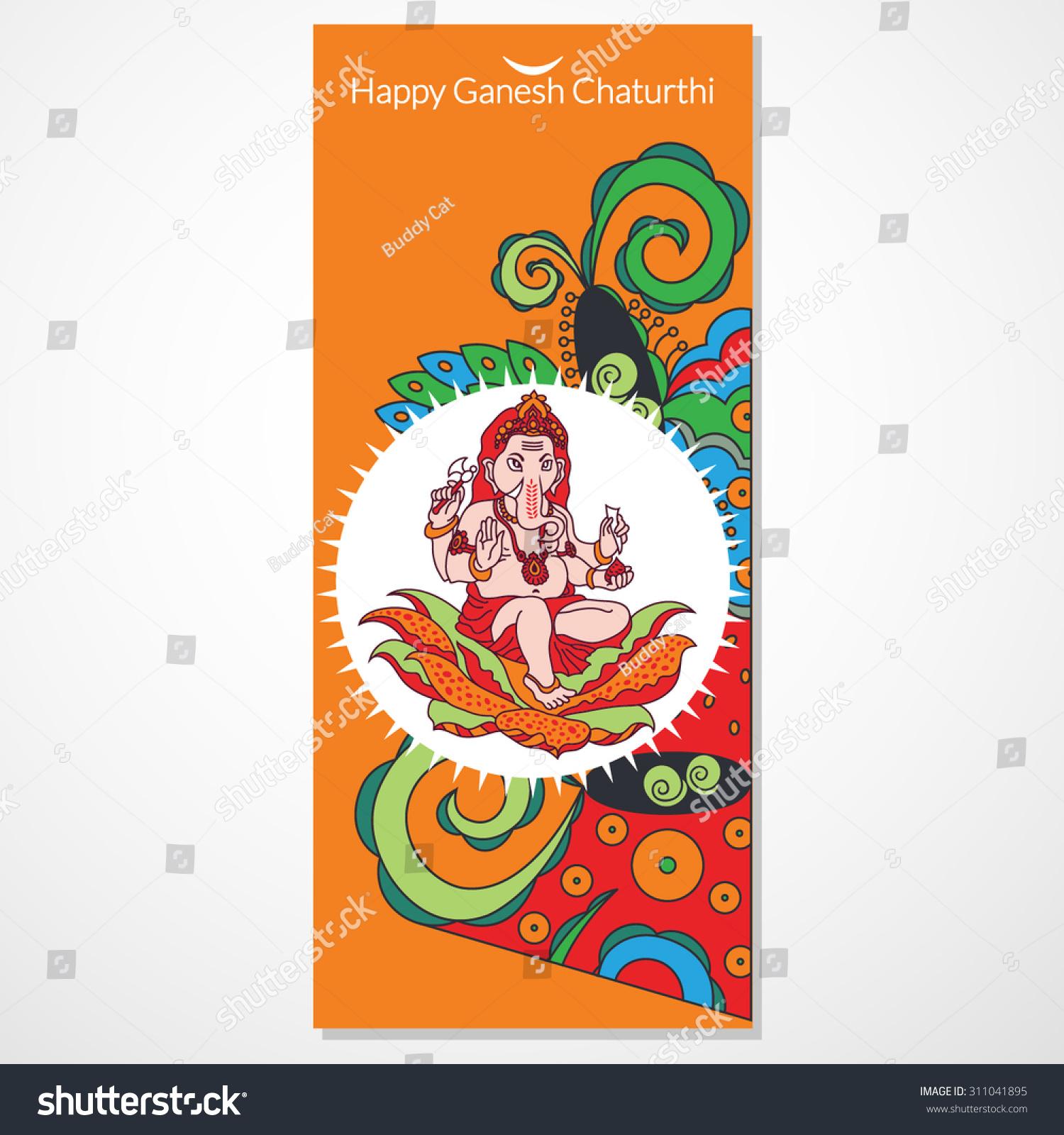Creative Ganesh Chaturthi Festival Greeting Card Stock Vector 2018