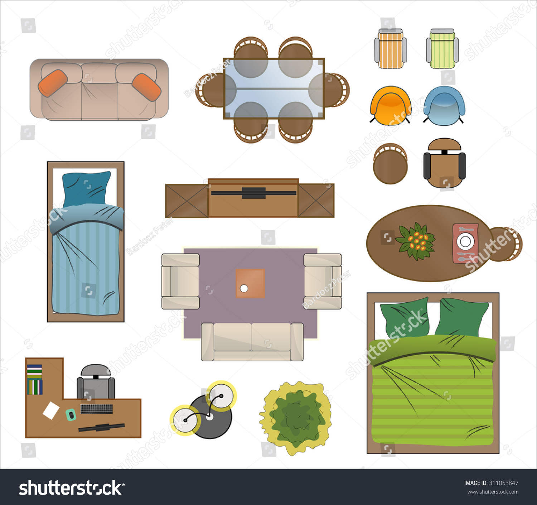 Floor Plan Furniture Set Vector Illustration Stock Vector Royalty Free 311053847