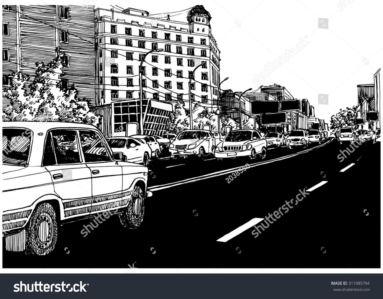 Asphalt Black Road City View Urban Stock Illustration 311085794 ...