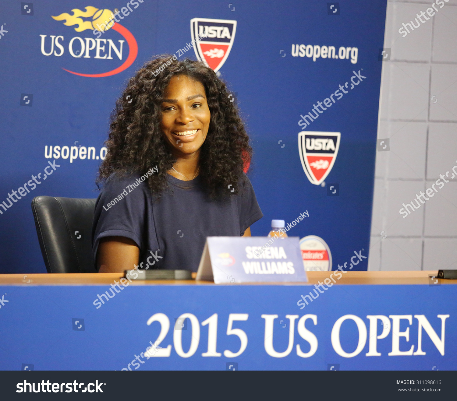NEW YORK AUGUST 27 2015 Twenty one times Grand Slam champion Serena Williams during press conference at the Billie Jean King National Tennis Center before US Open 2015 tournament in Flushing NY